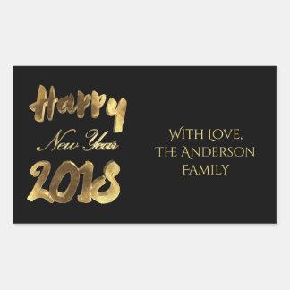 Happy New Year 2018 Elegant Black Gold Typography Rectangular Sticker
