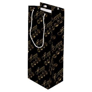 Happy New Year 2018 Elegant Black Gold Typography Wine Gift Bag
