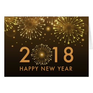 happy new year 2018 gold fireworks new year card