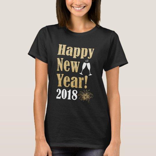 Happy New Year 2018 Golden Sparkle Women's T
