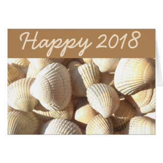 Happy New Year 2018 Sea Shells Summer Tropical Card