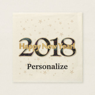 Happy New Year 2018 Stars Fireworks Gold Paper Serviettes