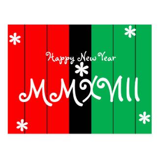 Happy New Year 2018 Striped Kwanzaa Colors Postcard