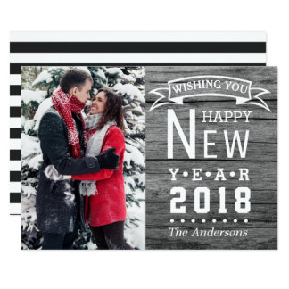 Happy New Year 2018 Typography | Holiday Photo Card