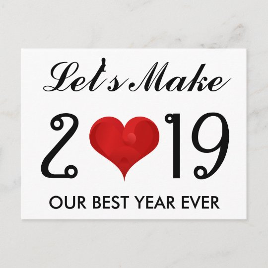 Happy New Year 2019 Motivational Quote Heart Holiday Postcard