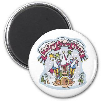 Happy New Year 6 Cm Round Magnet