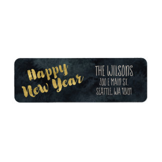 Happy New Year Address Labels - Black & Gold