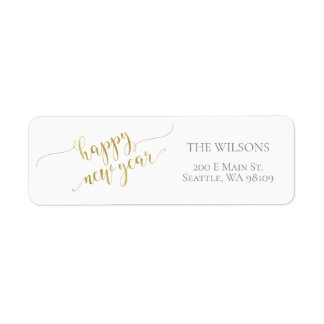 Happy New Year Address Labels - White & Gold