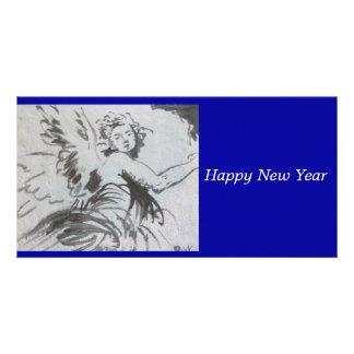 Happy New Year Angle card Custom Photo Card