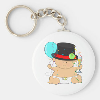 Happy New Year Baby Basic Round Button Key Ring