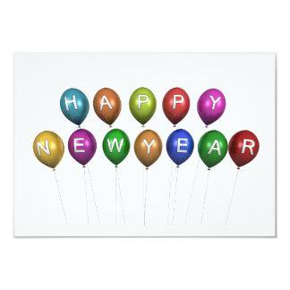 Happy New Year Balloons Invitation Card