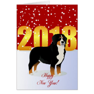 Happy New Year Bernese Mountain dog Card
