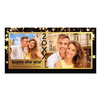 Happy New Year, Black and Gold Stars Card