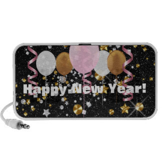 Happy New Year Black Faux Glitter & Balloons iPod Speaker