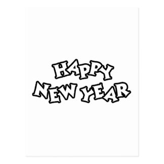 Happy New Year Black Postcard