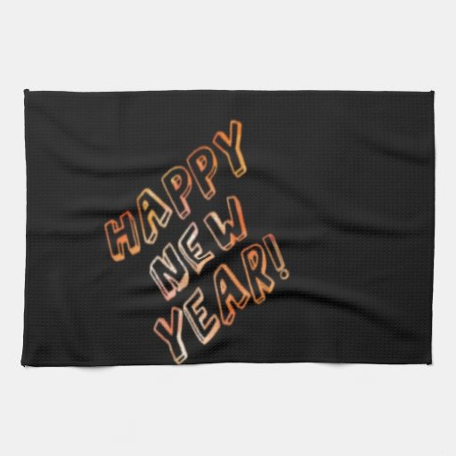 happy new year black hand towel