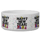 Happy New Year - Black Text with Party Hats