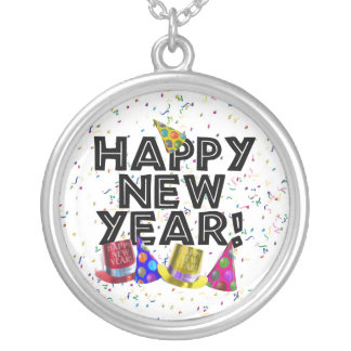 Happy New Year - Black Text with Party Hats Silver Plated Necklace