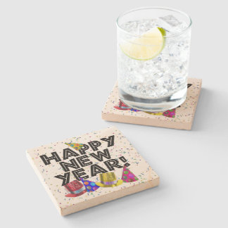 Happy New Year - Black Text with Party Hats Stone Beverage Coaster