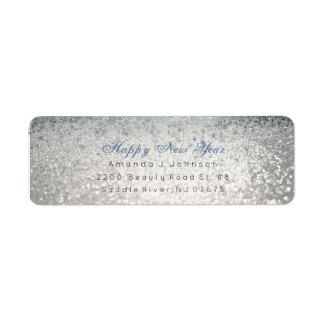 Happy New Year Blue Silver Glitter Stars Snow