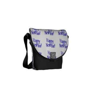 Happy New Year - Blue Text (Add Background Color) Messenger Bags