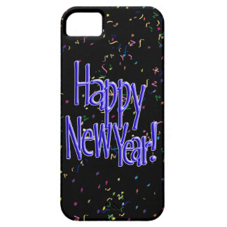 Happy New Year - Blue Text on Black Confetti iPhone 5 Cases