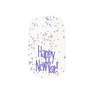 Happy New Year - Blue Text on White Confetti Fingernail Transfer