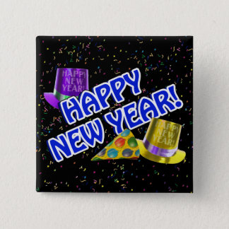 HAPPY NEW YEAR! Blue Text w/Party Hats 15 Cm Square Badge