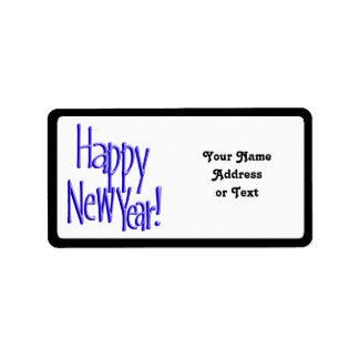 Happy New Year - BlueText (Add Background Colour) Address Label
