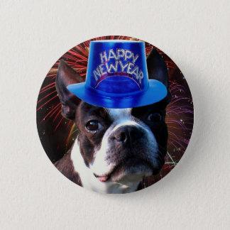 Happy New Year Boston terrier button