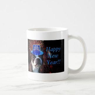 Happy New Year Boston terrier mug