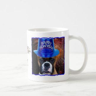Happy New Year boxer dog mug