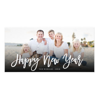 Happy New Year Brushed Script Holiday Photo Card