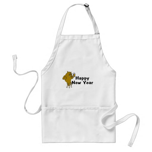 Happy New Year Bull And Beer Apron