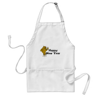 Happy New Year Bull And Beer Standard Apron