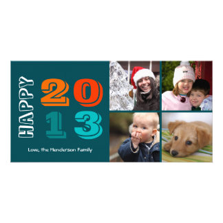 Happy new year by year 4 family photo grid navy custom photo card