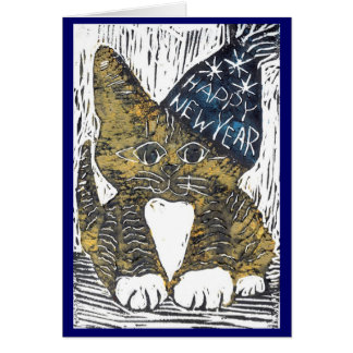 Happy New Year Cat Block Print Card