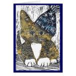 Happy New Year Cat Block Print Greeting Card