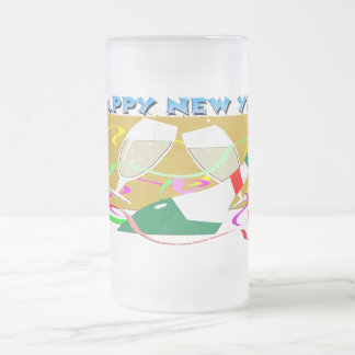 Happy New Year Champagne Frosted Glass Mug