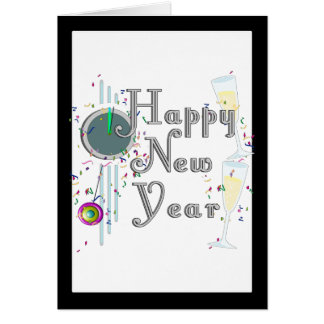 Happy New Year - Champagne Glasses and Clock Card