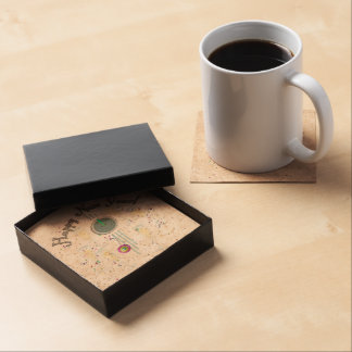 Happy New Year - Champagne Glasses and Clock Beverage Coasters