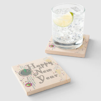 Happy New Year - Champagne Glasses and Clock Stone Coaster