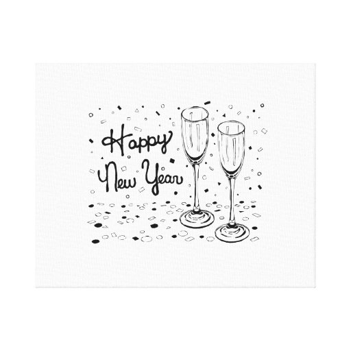Happy New Year Champagne Glasses Canvas Print