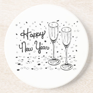 Happy New Year Champagne Glasses Beverage Coaster