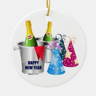 Happy New Year Champagne Round Ceramic Decoration