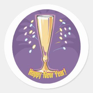 Happy New Year Champagne Round Sticker