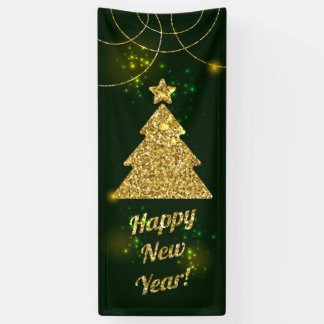 Happy New Year Christmas Green Holiday Banner