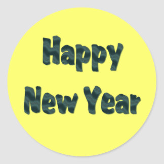 happy new year classic round sticker
