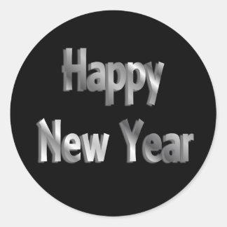 happy new year classic round sticker