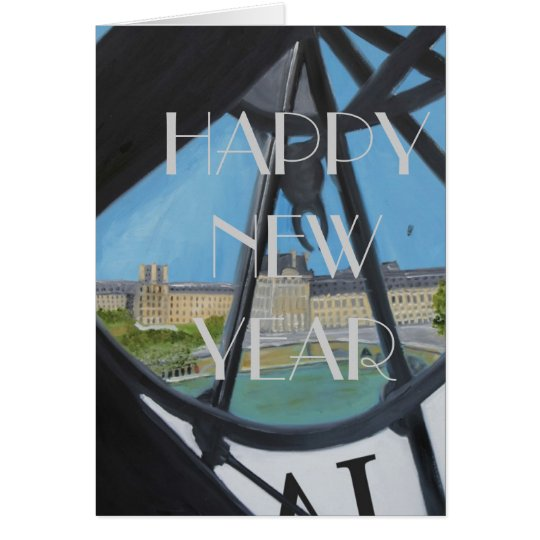 HAPPY NEW YEAR CLOCK:HELLO 2014 CARD